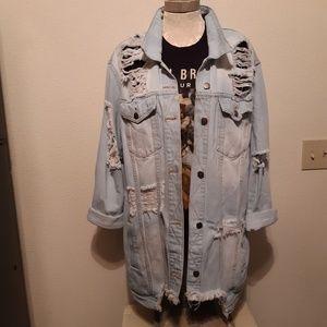 Fashion Nova Distressed Denim Jacket